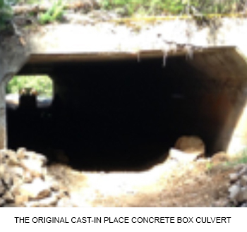 The original cast-in place concrete box culvert